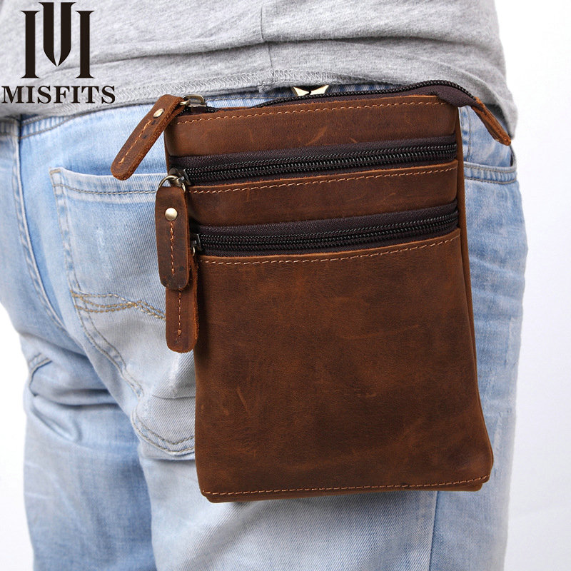 100% Crazy Horse Cowhide Genuine Leather Waist Packs Male Crossbody Bags for Men 7 inch Tablet Phone bag Shoulder Messenger Bags genuine leather bags for men chest packs male cowhide messenger bags crossbody shoulder bag handbags