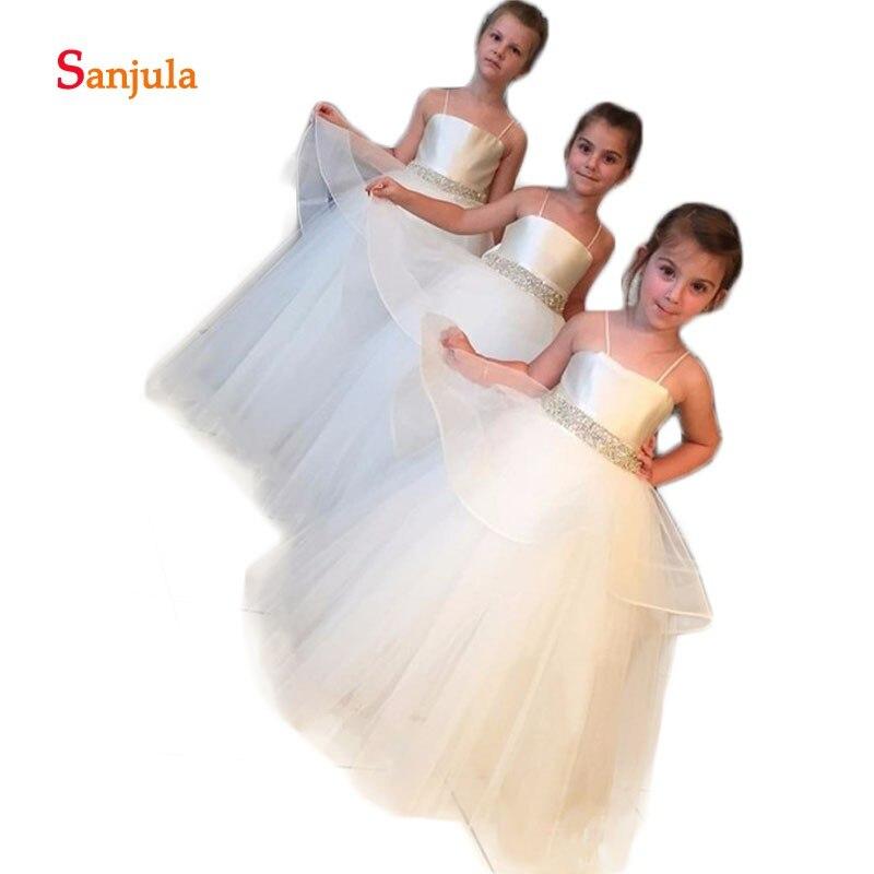 Spaghetti Straps Puffy Ball Gown Tulle   Dress   for Little   Girls   Satin Top Beaded Waist Charming   Flower     Girls     Dresses   Ivory D77