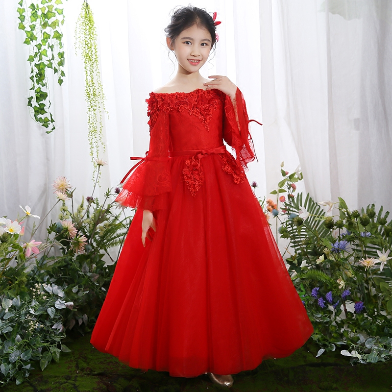 цена на 2018 New Children Girls Red Color Elegant Princess birthday Wedding Evening Party Ball Gown Lace Dress Cute Flare Sleeves Dress