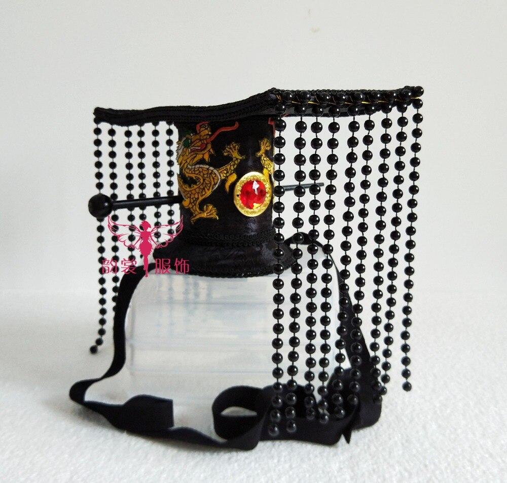 Or noir 3 dessins petit garçon cheveux accessoire pièce de cheveux perles rideau empereur chapeau Han dynastie empereur cheveux tiare