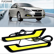 цена на Free shipping 2PCS New Car stying L shape 12V Xenon white LED COB Car Auto LED DRL Driving Daytime Running Lamp LED Fog Light