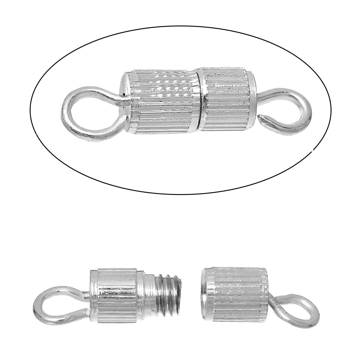 DoreenBeads медь винтовые застежки застежка для браслета или Подвески цилиндр серебряный цвет интимные аксессуары мм 15 мм (5/8 «мм) x 4 (1/8»), 6 шт.