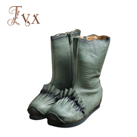 Tayunxing Handmade Shoes Genuine Leather Zipper Wedges Pleated Women Boots Ankle Low Heel Comfort Personality 818
