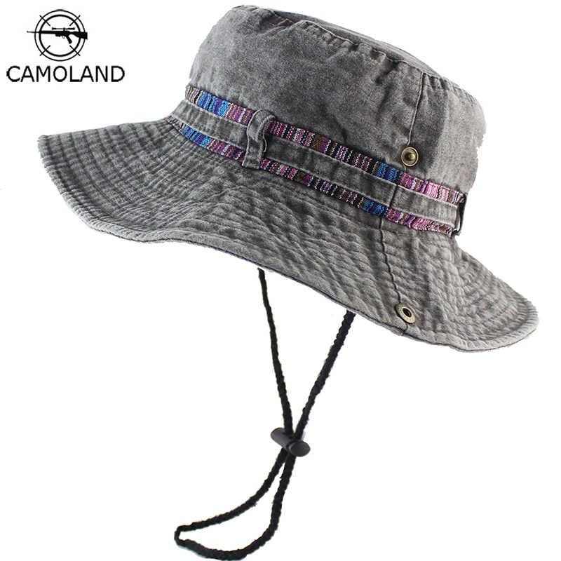 100% Cotton Sun Hat Bucket Summer Men Women Fishing Boonie UV Protection Outdoor  Beach Cap f6a11d20441
