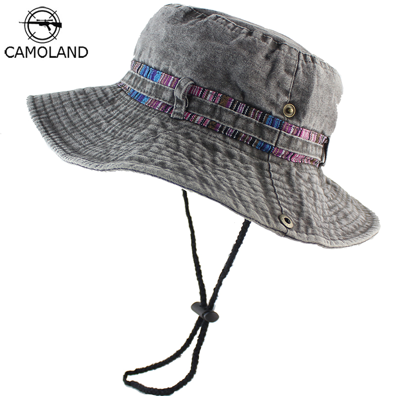 100% Cotton Sun Hat Bucket Summer Men Women Fishing Boonie UV Protection Outdoor Beach Cap Packable Denim Adjustable Washed