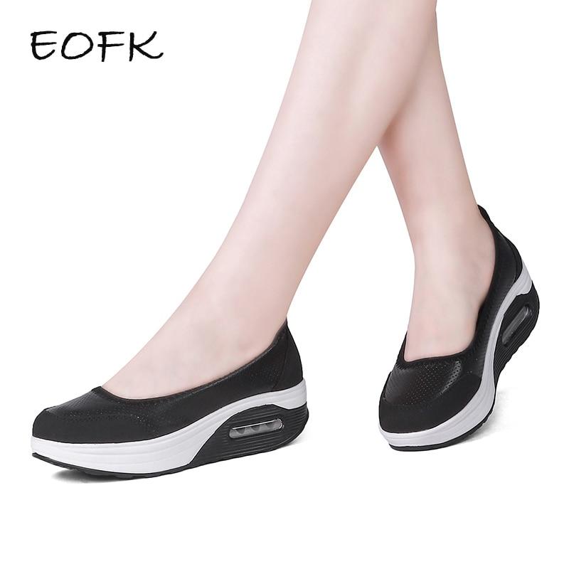 EOFK Women Platform Shoes Woman Flat Loafers Shallow Women s Leather Platform Slip On Ladies Casual