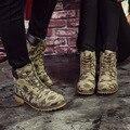 Женщины Камуфляж Ботильоны Обувь Холст Женщины Армейские Ботинки Моды Мартин Сапоги Случайные Лодки Нового 2017