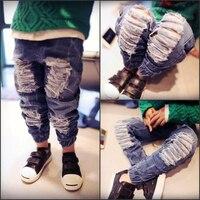 Nosić Spodnie dla dzieci Wiosna Jesień Dzieci Dżinsy Elastyczny Pas Niebieski Kolor Zgrywanie Jeans Spodnie Odzież Dla Dzieci Dziewczyny Chłopcy Dzieci