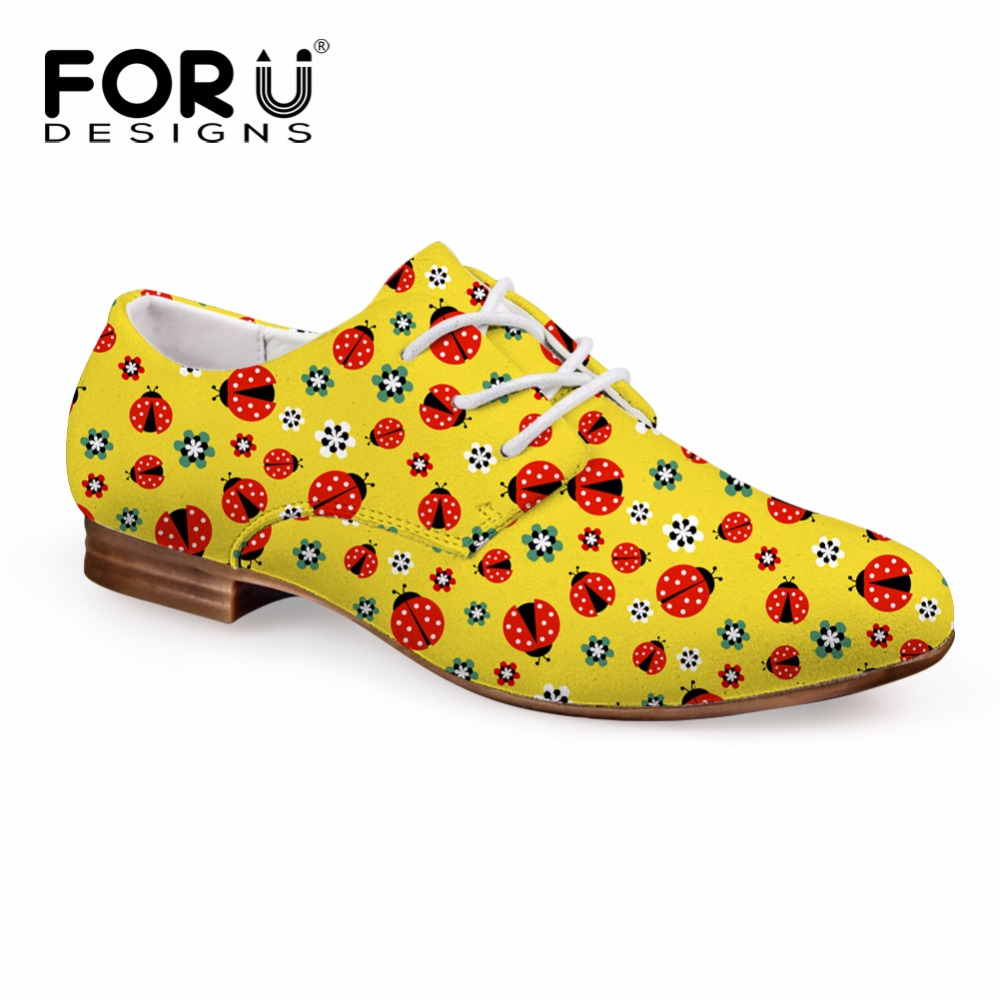 FORUDESIGNS 2018 New Fashion Women's Flats Casual Oxford Leather Shoes for Women Breathable Lacing Female Business Flat Shoes forudesigns fashion women flat shoes female teens girls floral print casual flats breathable walking shoes for woman plus size