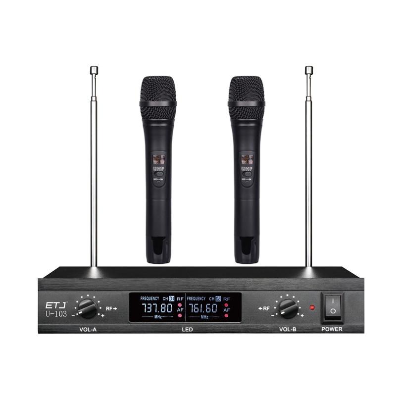 ETJ U-103 Wireless Microphone with Screen 50M Distance 2 Channel Handheld Mic System Karaoke Wireless Microphone etj brand wireless vhf changable handheld bodypack headset lavalier microphone dual wireless microphone u 201