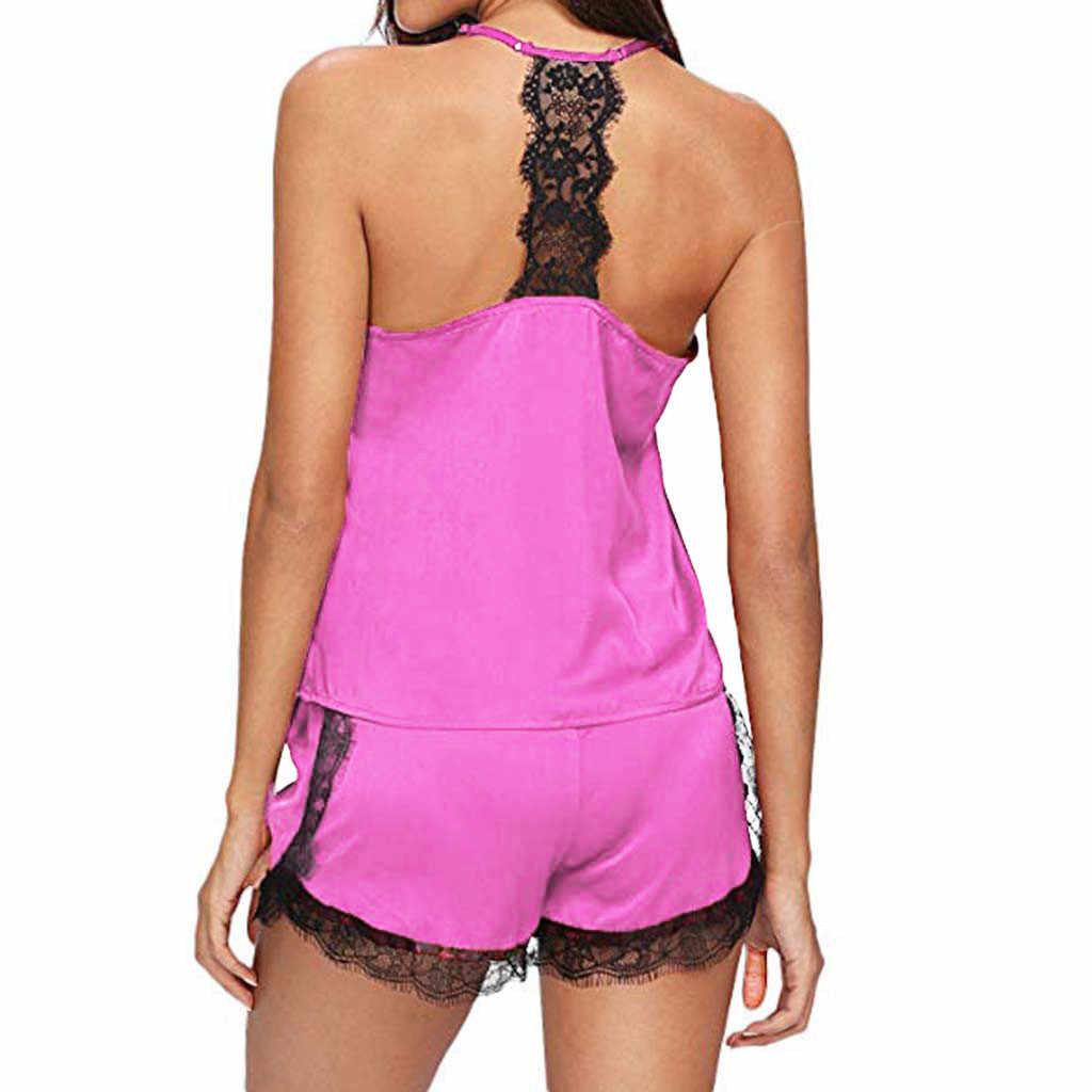2019 Uyku Salonu kadın pijama Kıyafeti Kolsuz Kayış seksi ev giyim Dantel Trim Saten Cami Üst Pijama Setleri