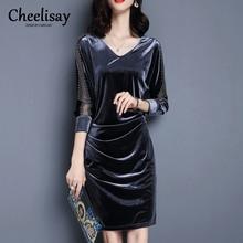 2019 Elegant Vintage Party Vestidos Velvet Tight Dress Three-quarter Sleeve Women Slim Summer Dress Hot Sale Fashion Plus Size three quarter sleeve velvet dress