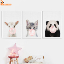 Panda Sheep Cat Pink Bubble Wall Art Canvas Painting Nordic Posters And Prints Cartoon Animal Pictures Baby Kids Room Decor