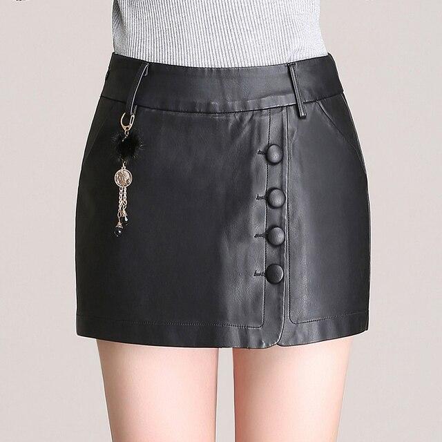 2016 New Fashion Autumn Winter Women Slim PU Leather Shorts Skirts Female Culottes Shorts Feminino Black Plus Size