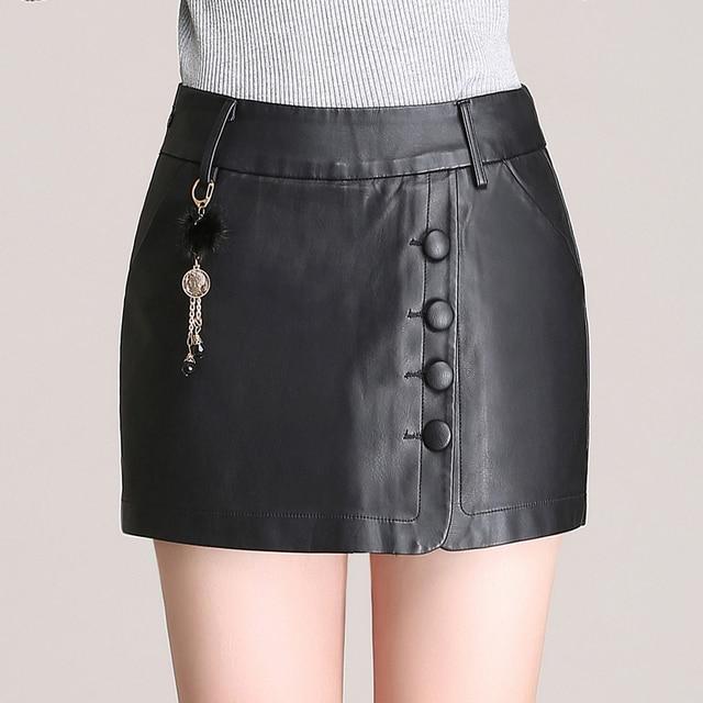 2016 Nova Moda Outono Inverno Mulheres de Slim PU Shorts De Couro Saias Feminino Culottes Shorts Feminino Plus Size Preto