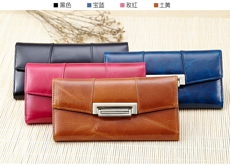 ФОТО Hiqh quality luxury 100% oil wax genuine cow leather women wallets big capacity purse wholesale leather clutch bag,ANS-8001