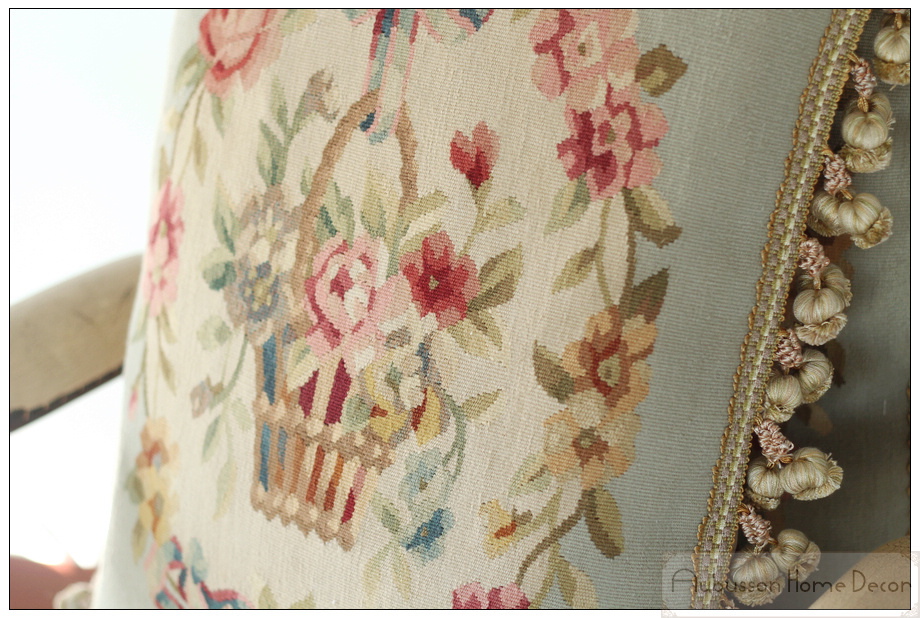Hand Woven Aubusson Tapestry Pillow Cushion Cover Shabby French Chic Cottage Blue Ribbon Pink
