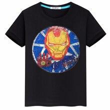 Summer new 2019 hot sequins cartoon reversal cotton short-sleeved T-shirt childrens clothing boys clothes