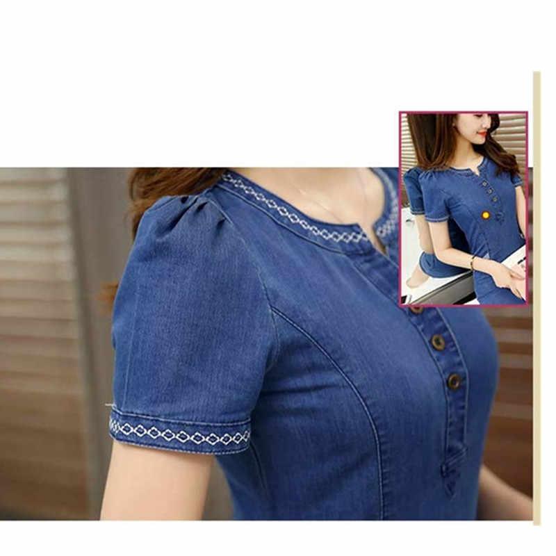 Летнее женское джинсовое платье 2019 повседневное модное тонкое джинсовое платье с коротким рукавом плюс размер v-образный вырез джинсовое платье женская одежда 3XL