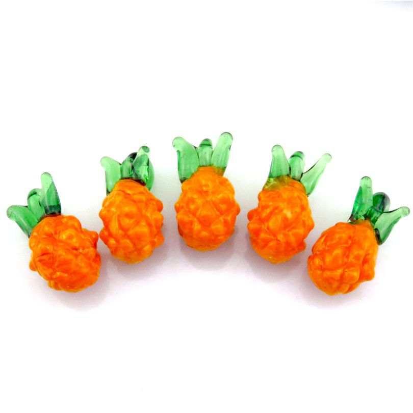 5pcs Pineapple Glass Charms Fruit Food Design Pendant Charms for Kids Girl DIY Earrings Jewelry Making Supplies 21888