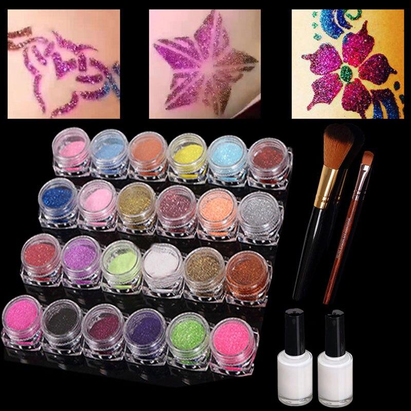 24 Colors Temporary Glitter Powder Body Tattoo Art Paint Set Fancy Women Body Art Tattoo ink Henna Stencil + Brush+ Glue Kit New