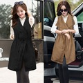 2016 New Women Fashion Solid Fallaway Waterfall Sleeveless Asymmetric Loose Cardigan Top Casual Long Coat Jacket W008