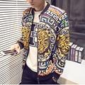 Nueva 2016 otoño estilo chino moda geometría y leopard print bomber jacket hombres veste homme hombres tamaño de la ropa m-4xl JK3-1