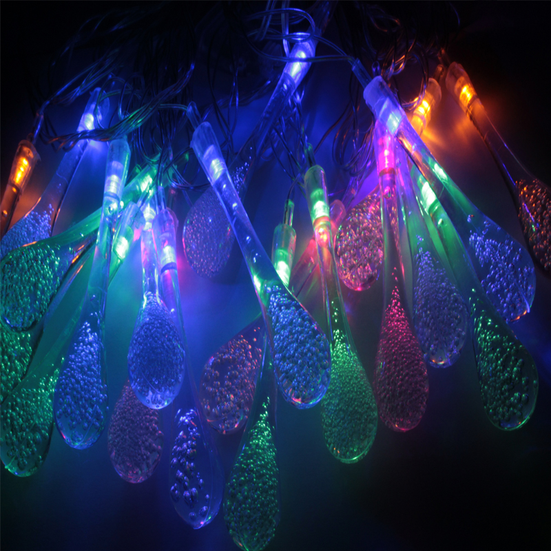 5M 20 LED Raindrop led christmas lights MultiColor Outdoor String Lights for Outside Garden Patio Party Christmas MultiColor darice 2463 54 plastic metallic christmas bulbs 1 12 pkg multicolor