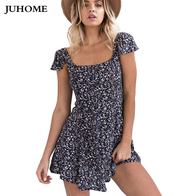 b31b1477f3a3c Summer sundress Women clothing Sexy floral Dress 2018 beach Tunic boho  Backless Ladies Dress open back flower Vestidos tube robe