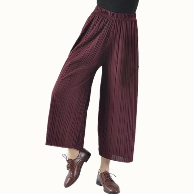 3e747a60ea542 Women Girls 2018 Pleated culottes pants spring summer female high waist  nine chiffon wide leg pants