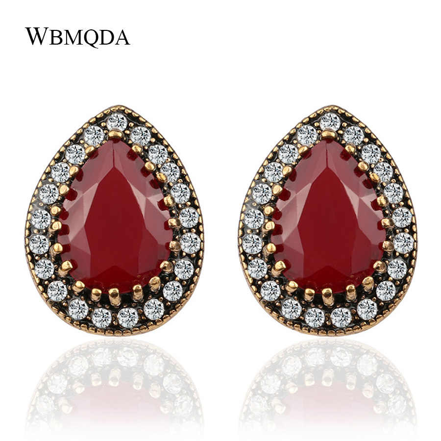 Detail Feedback Questions about Boho Indian Jewelry Vintage Water Drop  Tears Antique Gold Clip On Earrings For Women Trendy Fashion Crystal Stud  Earings ... b98233b3e7fa