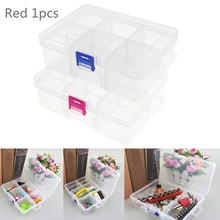 Red Buckle Portable Large 6 Grid Transparent Plastic Detachable Storage Box Hardware Jewelry Case Assortment with Lid