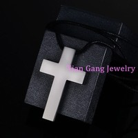 Fashion Charming Polished Silver/Gold/Black Tone Men Womens Religious Stainless Steel Cross Pendant Chain Necklace