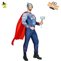 Macho Thor SuperHero Hallowee Costume Adult Mens American Superman Captain Costume for Carnivai Party Performance Show Dress