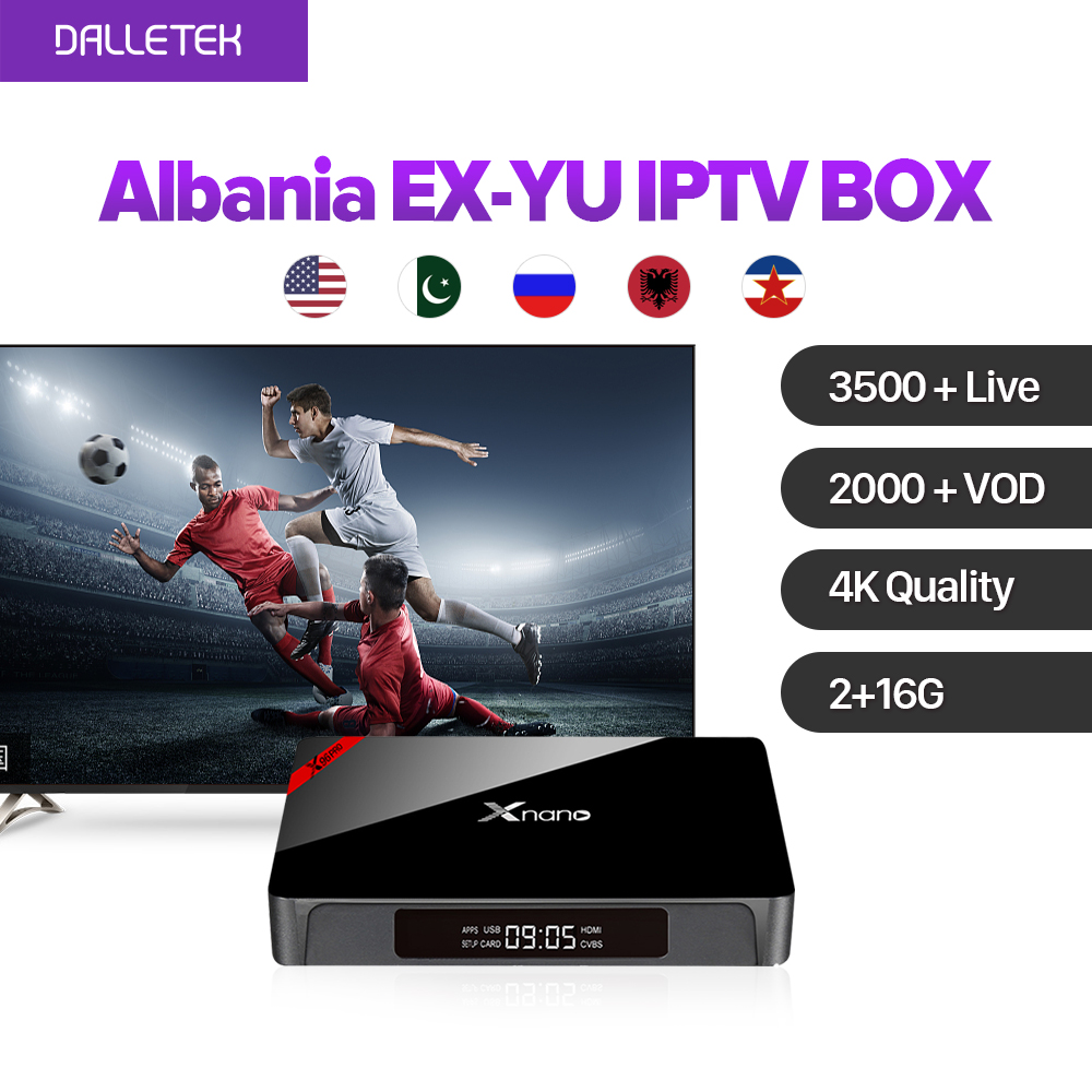 Dalletektv Xnano Android IPTV Set Top Box 4K S905X 2G 16G with 3500+ Arabic IPTV Europe French USA UK 1 year IPTV Subscription x92 android iptv box s912 set top box 700 live arabic iptv europe french iptv subscription 1 year iptv account code