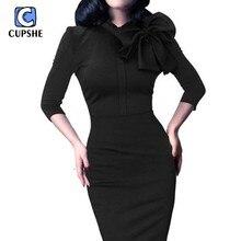 Cupshe Mode Frauen Vintage Bowknot Party Cocktail Bodycon Kleid Sexy Oansatz Langarm Buiness Elegante Frauen Kleid