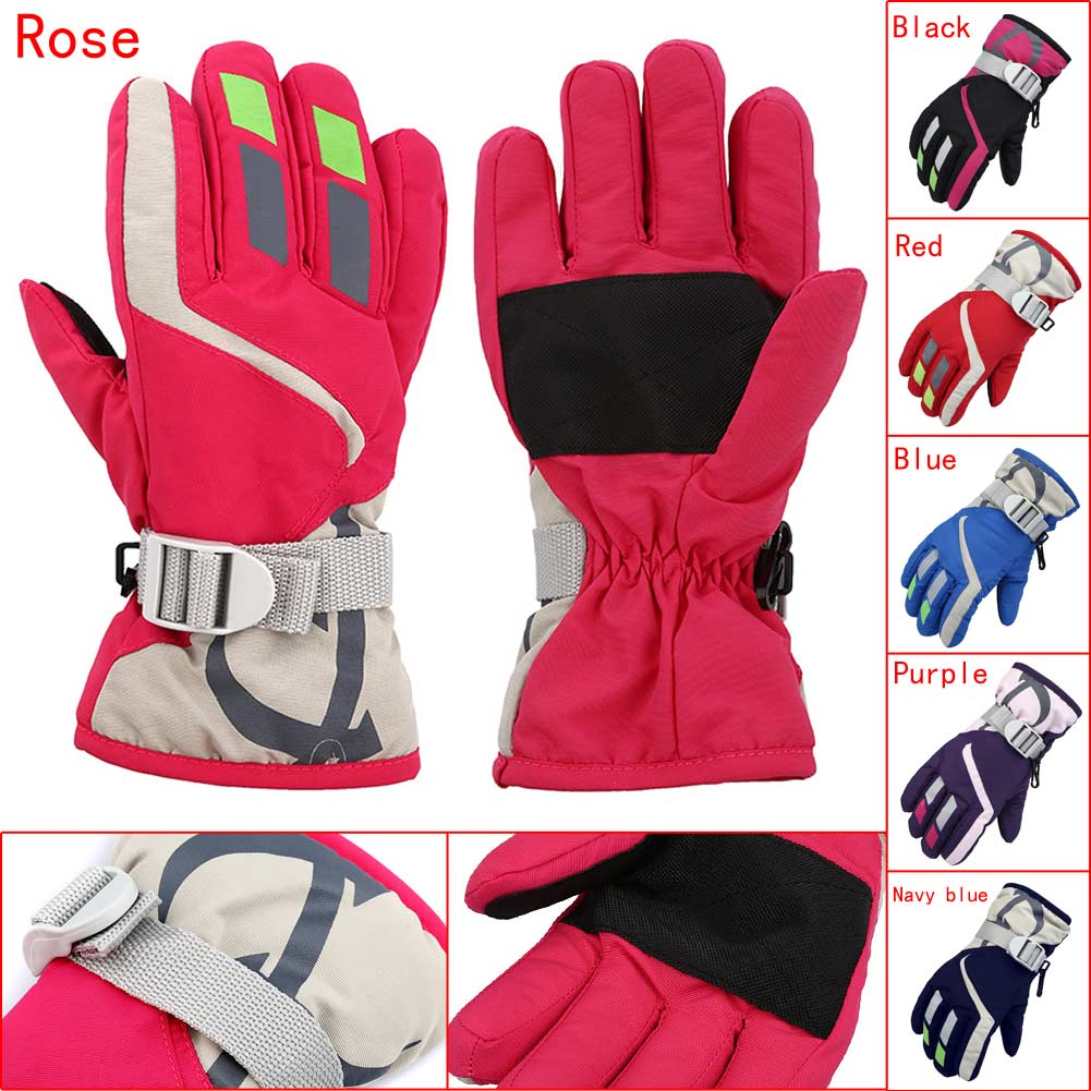 Children Boys/Girls Snowmobile Winter Warm Ski Gloves Sports Waterproof Windproof Snow Mitten Adjustable Ski Strap Skiing Gloves