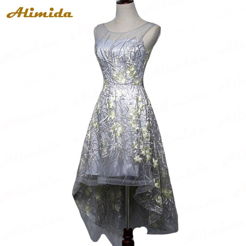 ALIMIDA robe de soiree вечерние короткие платья 2017 Серебряный корсет на спине Свадебные праздничные платья Аппликации Высокая Низкая Пром платье