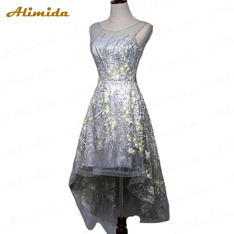 ALIMIDA robe de soiree Evening Short Dresses 2017 Silver Back Corset Wedding Party Gowns Appliques High Low Prom Dress