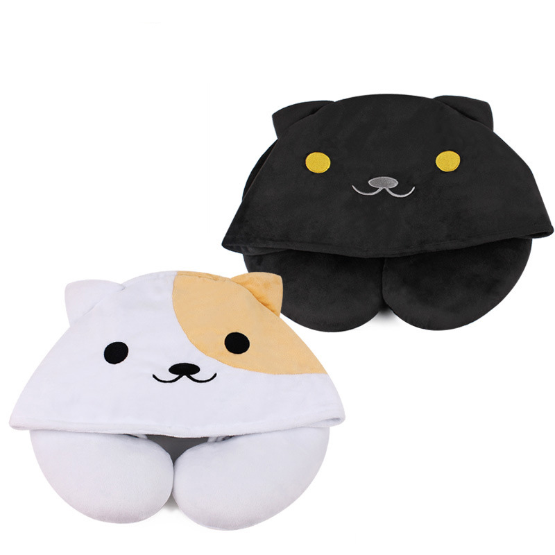 1pcs Cute Cartoon Animal Cat U Shape Pillow Portable Travel Hooded Pillow  Support Head Neck Rest Cushion with Hat mysterious cartoon meow star cute cat cushion simulation decorative pillow