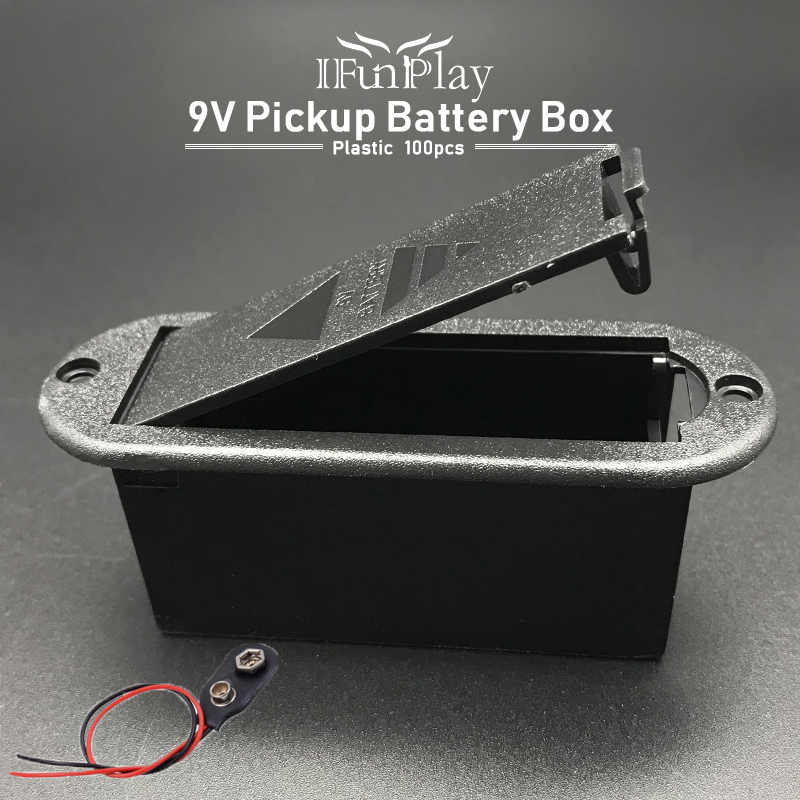 100pcs 9V Active Guitar Pickup Battery Cover Case Holder Box Compartment with 100pcs Battery Connector Guitarra