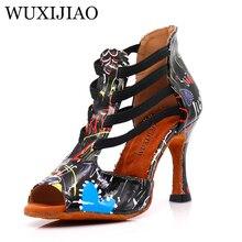 WUXIJIAO/танцевальная обувь для латинских женщин; цвет черный, белый; яркая искусственная кожа; Танцевальная обувь для сальсы; блестящая профессиональная танцевальная обувь; Бальные мягкие туфли