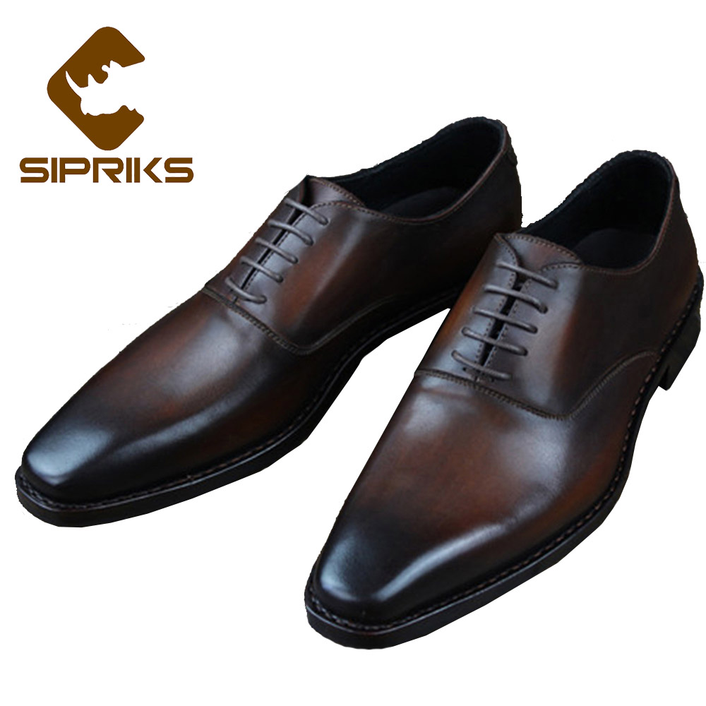 SIPRIKS Luxury Mens Goodyear Welted Shoes Vintage Patina Brown Dress Oxfords Italian Hand Painted Wedding Shoes Grooms Formal luxury bespoke goodyear welted shoes elegant mens dress shoes italian unique boss wingtips shoes italian grooms wedding shoes