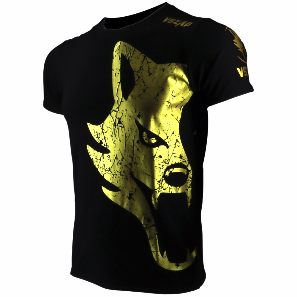 VSZAP Golden Fight MMA T-Shirt  Boxing Jerseys Gym Shorts Boxing Fitness Sport Muay Thai Cotton Breathable T Shirt MenKickboxing