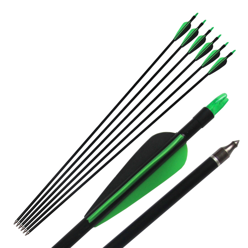 "6 piezas / lote, 85 cm de longitud 33 ""Flecha de fibra de vidrio con punta de flecha intercambiable, Nock Proof, Spine 500 Hunting Compound Bow / Long Bow Arrow"