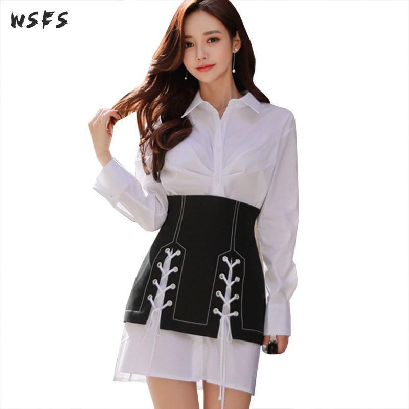 2 pièces ensembles chemise blanche manches longues hauts Blouse femmes robe moulante dames noir à lacets Mini enveloppement de crayon robes de soirée