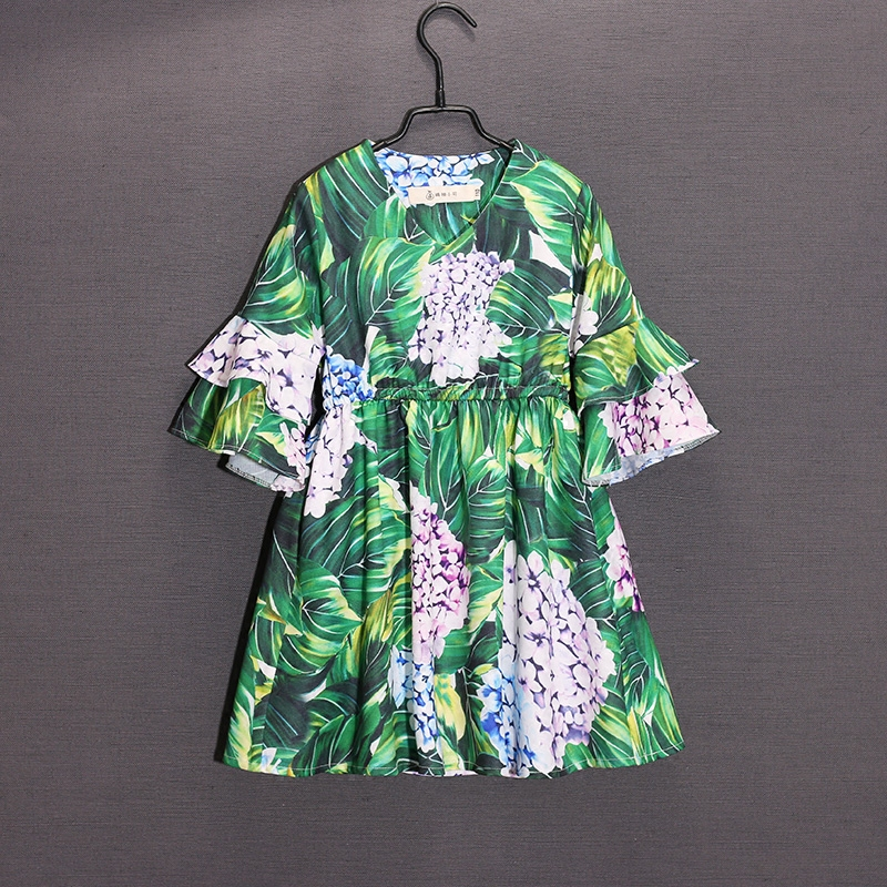 Summer Spring children Hydrangea flower dress family look clothes mom and baby girl dress matching mother daughter beach dresses summer brand children chiffon family look clothes kids mom girl flower print beach dress matching mother daughter fashion dress