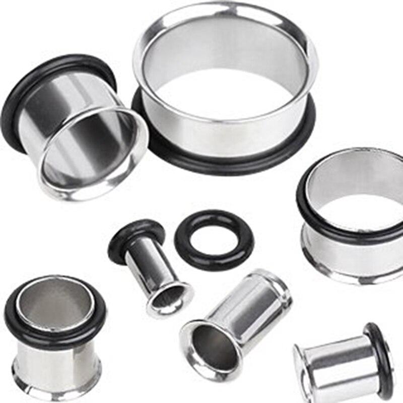 1 pair stainless steel single flare ear plug tunnel gauges flesh tunnel 1.6mm-10mm
