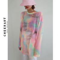 Cheerart Tie Dye Transparent Top Long Sleeve T Shirt Women See Through Fashion Top Tee Shirt Thin Summer Top Fashion Tshirt