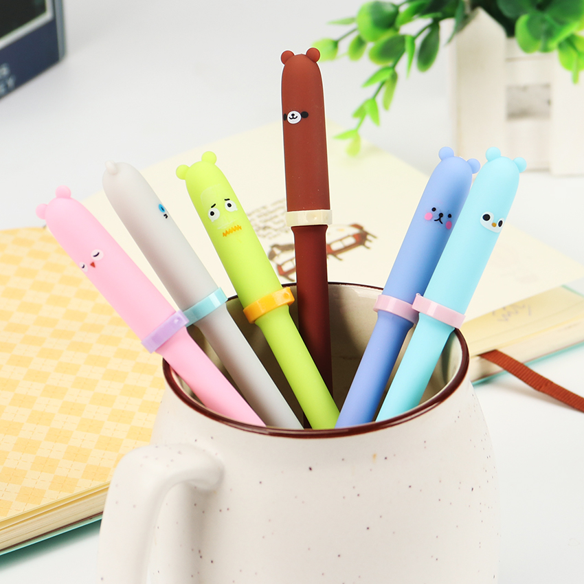 3PCS Cute Animal Expression Gel Pens Animals Signing Pen Roller Ball Pens Stationery Office School Supplies